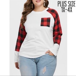 Tops - Plus Size Plaid Long Sleeve Tee